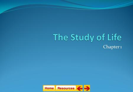 Chapter 1 The Study of Life Section 1: Introduction to Biology Section 2: The Nature of Science Section 3: Methods of Science.