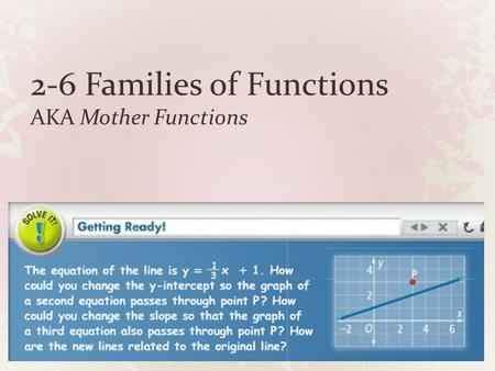2-6 Families of Functions AKA Mother Functions. Different nonvertical lines have different slopes, or y- intercepts, or both. They are graphs of different.