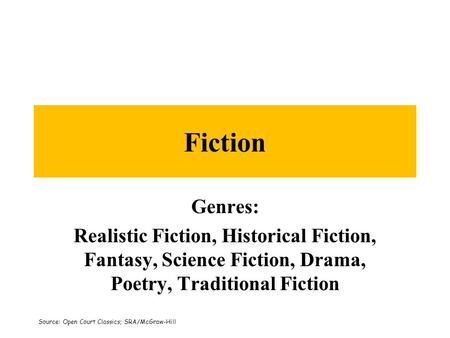 Fiction Genres: Realistic Fiction, Historical Fiction, Fantasy, Science Fiction, Drama, Poetry, Traditional Fiction Source: Open Court Classics; SRA/McGraw-Hill.