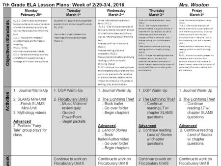 7th Grade ELA Lesson Plans: Week of 2/29-3/4, 2016 Mrs. Wooton Monday February 29 th Tuesday March 1 st Wednesday March 2 nd Thursday March 3 rd Friday.