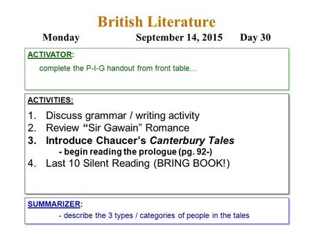 "British Literature MondaySeptember 14, 2015 Day 30 ACTIVITIES: 1.Discuss grammar / writing activity 2.Review ""Sir Gawain"" Romance 3.Introduce Chaucer's."