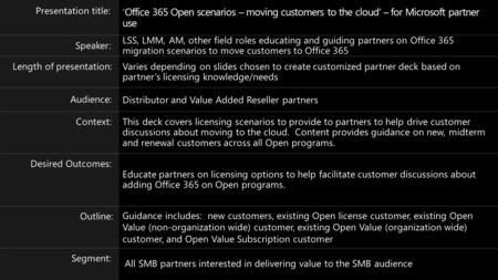 Office 365 Open scenarios Moving customers to the cloud For Microsoft partner use January 2014 Volume Licensing.
