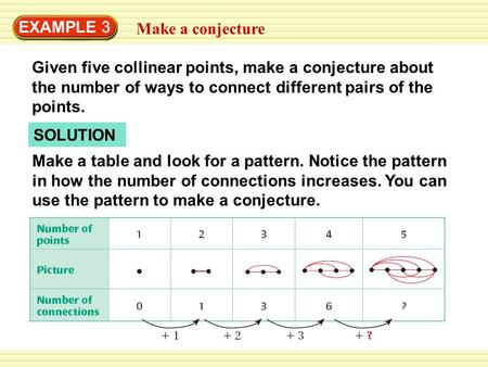Warm-Up Exercises EXAMPLE 3 Make a conjecture Given five collinear points, make a conjecture about the number of ways to connect different pairs of the.