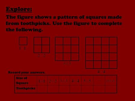 Explore: The figure shows a pattern of squares made from toothpicks. Use the figure to complete the following. Record your answers. Size of Square Toothpicks.