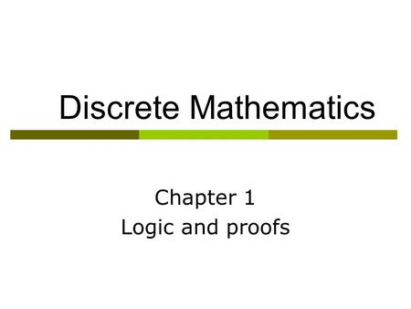Chapter 1 Logic and proofs
