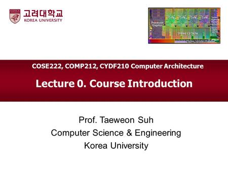 Lecture 0. Course Introduction Prof. Taeweon Suh Computer Science & Engineering Korea University COSE222, COMP212, CYDF210 Computer Architecture.