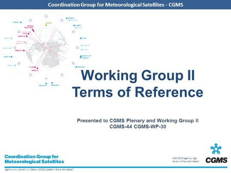 Working Group II Terms of Reference Presented to CGMS Plenary and Working Group II CGMS-44 CGMS-WP-30.