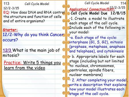 Mitosis and Cytokinesis 12/2-3/15 Starter: 12/2-Why do you think Cancer occurs? 12/3 What is the main job of mitosis? 12/2-3/15 Cell Cycle Model Application/