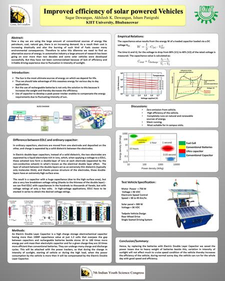 Improved efficiency of solar powered Vehicles Sagar Dewangan, Akhilesh K. Dewangan, Isham Panigrahi KIIT University, Bhubaneswar Abstract: Now a day we.