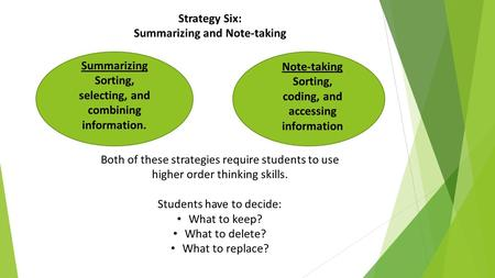 Strategy Six: Summarizing and Note-taking Summarizing Sorting, selecting, and combining information. Note-taking Sorting, coding, and accessing information.