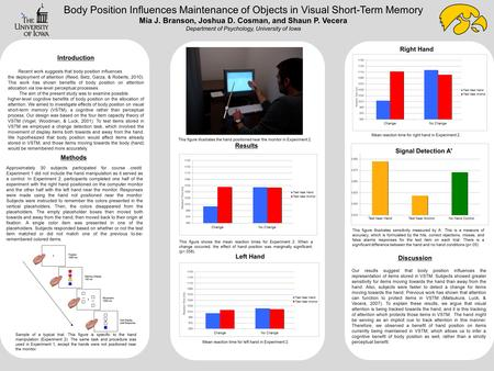 Body Position Influences Maintenance of Objects in Visual Short-Term Memory Mia J. Branson, Joshua D. Cosman, and Shaun P. Vecera Department of Psychology,