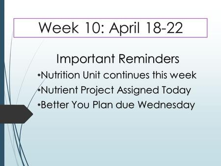 Week 10: April 18-22 Important Reminders Nutrition Unit continues this week Nutrition Unit continues this week Nutrient Project Assigned Today Nutrient.