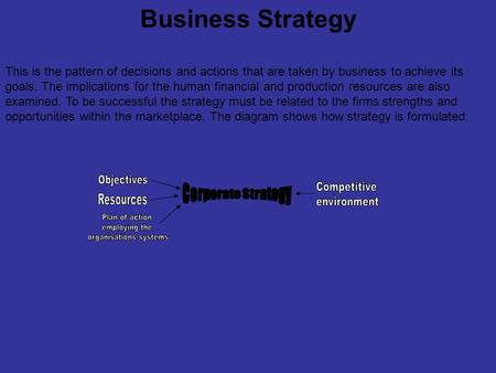 Business Strategy This is the pattern of decisions and actions that are taken by business to achieve its goals. The implications for the human financial.
