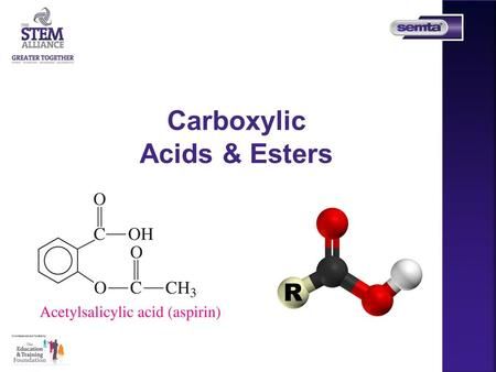 Carboxylic Acids & Esters. Topic Chemistry- Intro Carboxylic Acids and Esters Aims  To help introduce students to Carboxylic Acids and Esters Aimed at.