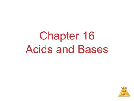 Acids and Bases Chapter 16 Acids and Bases. Acids and Bases Some Definitions Arrhenius  Acid:Substance that, when dissolved in water, increases the concentration.