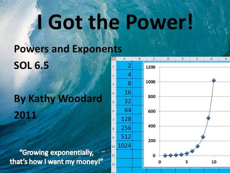 I Got the Power! Powers and Exponents SOL 6.5 By Kathy Woodard 2011.