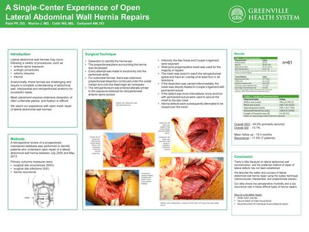 A Single ‐ Center Experience of Open Lateral Abdominal Wall Hernia Repairs Patel PP, DO, Warren J, MD, Cobb WS, MD, Carbonell AM, DO Methods A retrospective.