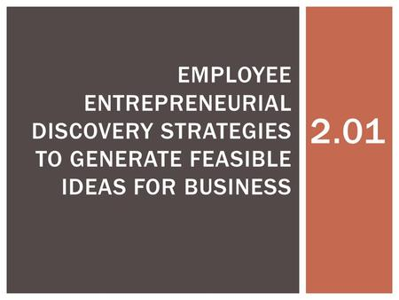 2.01 EMPLOYEE ENTREPRENEURIAL DISCOVERY STRATEGIES TO GENERATE FEASIBLE IDEAS FOR BUSINESS.