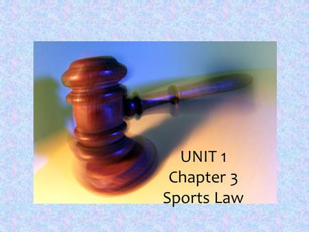 UNIT 1 Chapter 3 Sports Law. Who's often on the scene 1 st ? THE COACH Inappropriate decisions and actions may jeopardize the injured person and lead.
