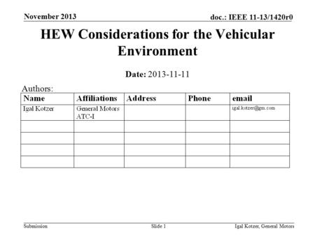Submission doc.: IEEE 11-13/1420r0 November 2013 Igal Kotzer, General MotorsSlide 1 HEW Considerations for the Vehicular Environment Date: 2013-11-11 Authors: