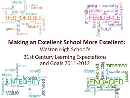 Making an Excellent School More Excellent: Weston High School's 21st Century Learning Expectations and Goals 2011-2012.