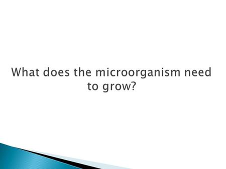 What does the microorganism need to grow?. 1. …………. 2. …………. 3. …………. 4. …………. 5. …………. 6. …………. 7. …………. Factors affecting microbial growth in food.