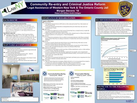 Printed by www.postersession.com Community Re-entry and Criminal Justice Reform Legal Assistance of Western New York & The Ontario County Jail Morgan Stevens.