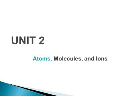 UNIT 2 Atoms, Molecules, and Ions. 1. Each element is composed of extremely small particles called atoms. 2. All atoms of a given element are identical.