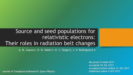 Source and seed populations for relativistic electrons: Their roles in radiation belt changes A. N. Jaynes1, D. N. Baker1, H. J. Singer2, J. V. Rodriguez3,4.