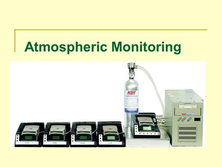 Atmospheric Monitoring. ATMOSPHERIC MONITORING INSTRUCTIONAL GOAL The participant will understand the need for atmospheric monitoring and the types, uses,