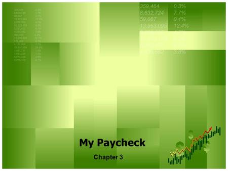My Paycheck Chapter 3. Types of Income Earned Income – Money received from working. Six types: wages, tips, salaries, bonuses, commissions, royalties,