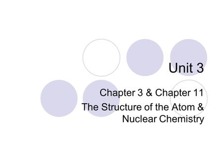 Unit 3 Chapter 3 & Chapter 11 The Structure of the Atom & Nuclear Chemistry.