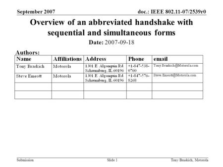 Doc.: IEEE 802.11-07/2539r0 Submission September 2007 Tony Braskich, MotorolaSlide 1 Overview of an abbreviated handshake with sequential and simultaneous.