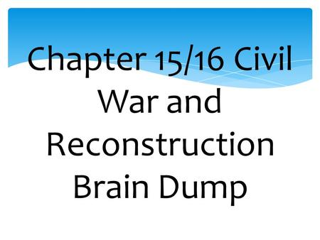 An overview of the bloodiest chapters of us history the civil war and the reconstruction
