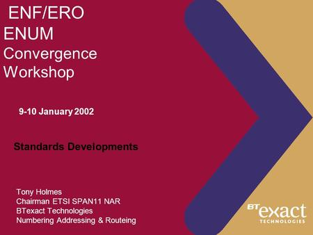 ENF/ERO ENUM Convergence Workshop Tony Holmes Chairman ETSI SPAN11 NAR BTexact Technologies Numbering Addressing & Routeing 9-10 January 2002 Standards.