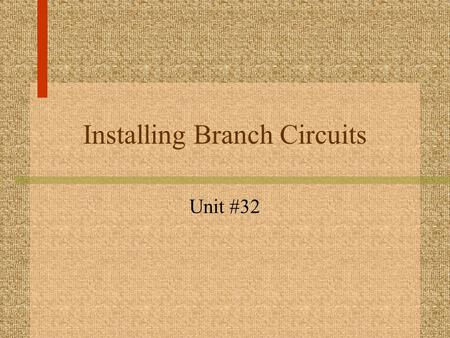 Installing Branch Circuits Unit #32. What are Wiring Boxes? hold cable or conduit and protect connections attached to building contain all electrical.