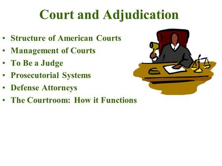 Court and Adjudication Structure of American Courts Management of Courts To Be a Judge Prosecutorial Systems Defense Attorneys The Courtroom: How it Functions.