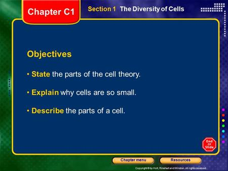 Copyright © by Holt, Rinehart and Winston. All rights reserved. ResourcesChapter menu Section 1 The Diversity of Cells Objectives State the parts of the.