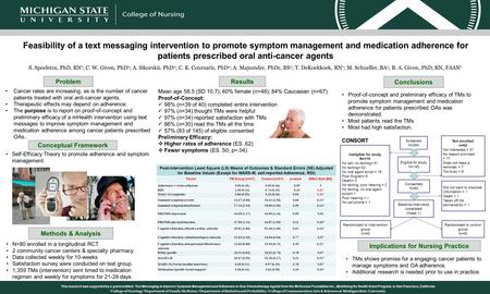 Feasibility of a text messaging intervention to promote symptom management and medication adherence for patients prescribed oral anti-cancer agents S.