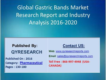 Global Gastric Bands Market Research Report and Industry Analysis 2016-2020.