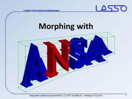 COMPUTER AIDED ENGINEERING Integrierte Optimierung mit ANSA, LS-OPT und META – Infotag 01.03.2012 1 Morphing with.