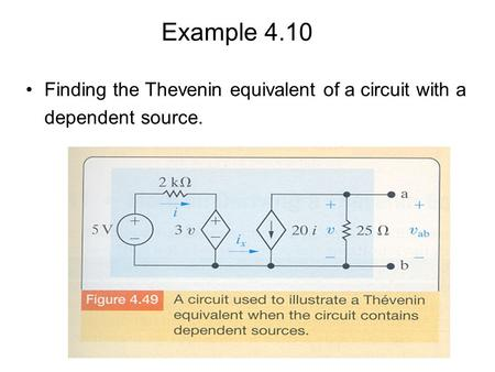 Example 4.10 Finding the Thevenin equivalent of a circuit with a dependent source.
