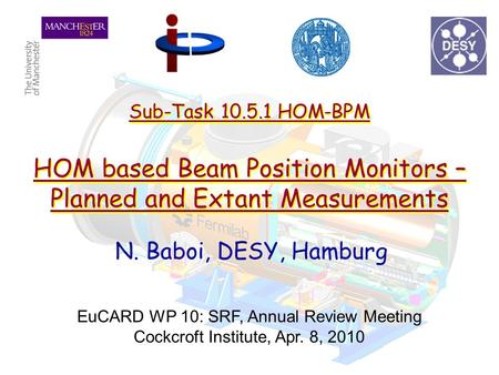 Sub-Task 10.5.1 HOM-BPM HOM based Beam Position Monitors – Planned and Extant Measurements N. Baboi, DESY, Hamburg EuCARD WP 10: SRF, Annual Review Meeting.