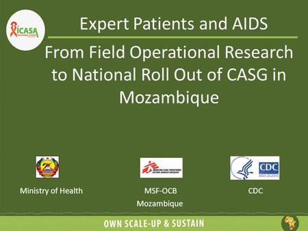 Expert Patients and AIDS Ministry of HealthMSF-OCB Mozambique CDC From Field Operational Research to National Roll Out of CASG in Mozambique.