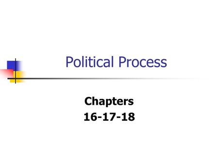 Political Process Chapters 16-17-18. What is Politics? Attempt by an individual or group to influence the government.