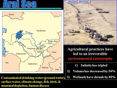 Agricultural practices have led to an irreversible environmental catastrophe Contaminated drinking water (ground water), surface water, climate change,