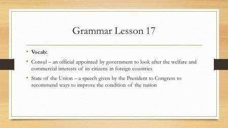 Grammar lesson 16 vocab crim the latin root means fault for Consul definition