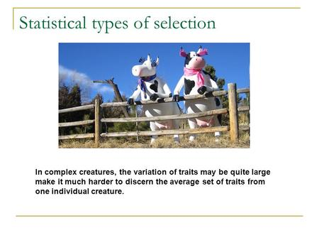 Statistical types of selection In complex creatures, the variation of traits may be quite large make it much harder to discern the average set of traits.