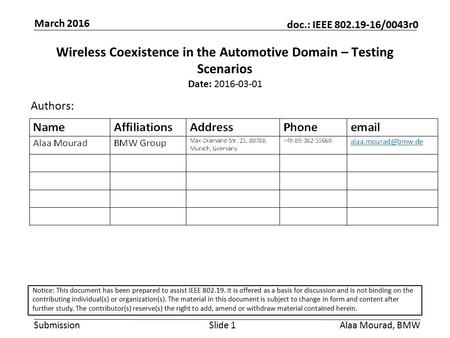 Submission doc.: IEEE 802.19-16/0043r0 March 2016 Alaa Mourad, BMWSlide 1 Wireless Coexistence in the Automotive Domain – Testing Scenarios Date: 2016-03-01.