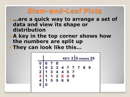 Stem-and-Leaf Plots …are a quick way to arrange a set of data and view its shape or distribution A key in the top corner shows how the numbers are split.